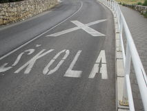 School Road markings. Croatian school road markings Stock Photos