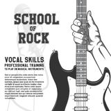 School of rock poster. Hand holding guitar. Black and white vintage illustration Royalty Free Stock Photos