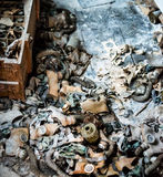 School room with trash and masks on the floor in Pripyat Stock Photography