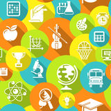 School Round Icons Colorful Seamless Pattern Stock Image