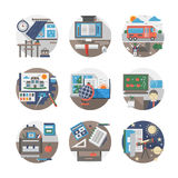 School routine flat color icons set Stock Image
