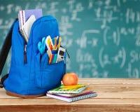School rucksack. School bag rucksack open  backpack scribbler Stock Photos