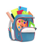 School rucksack with equipment. Side view of blue school backpack with pens and copybooks  on white background Stock Images
