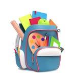 School rucksack with equipment Stock Images