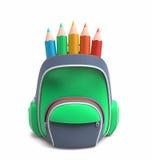 School rucksack with pencils Stock Images