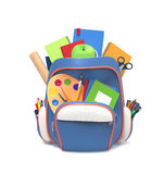 School rucksack with tools. Blue school backpack with pens and copybooks  on white background Stock Photo
