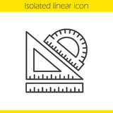 School rulers linear icon. Protractor, transparent and ruler. Thin line illustration. Geometry symbol. Vector isolated outline drawing Royalty Free Stock Photos