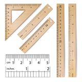 School Rulers Vector. Realistic Classic Wooden Metric Imperial Ruler.   Royalty Free Stock Images