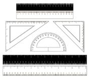 School rulers on a white background Royalty Free Stock Photos