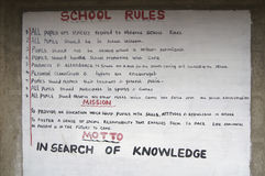 School rules on the wall of a primary school, Kenya, Africa. A sign with the school rules is hanging on the wall of a primary school in Kenya, Africa. This stock photography