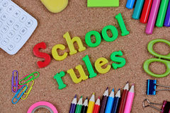 School rules words on cork. Background royalty free stock photography