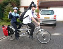 The school run by bike Stock Images