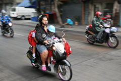 School Run By Motorbike Royalty Free Stock Images