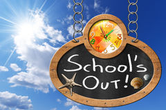 School's Out - Blackboard with Chain Stock Photos
