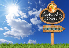 School's Out  - Sign for Beach Royalty Free Stock Photography
