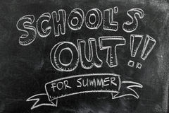 School's out. For summer on blackboard Royalty Free Stock Photos