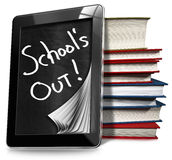 School's Out - Tablet Computer with Books Royalty Free Stock Photo