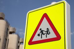 School Safety Sign. In urban setting Stock Image
