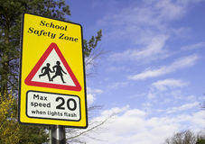School Safety Warning Sign. A school safety zone roadside warning sign Stock Images