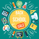 School sale. Colorful vector back to school sale poster template. Flat style. With hand drawn elements Stock Photography