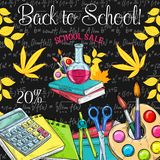 School sale poster of student supplies discount Royalty Free Stock Photography