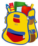 School satchel. Illustration School satchel with books, pencils, a ruler on a white background Royalty Free Stock Photography