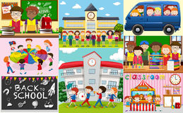 School scenes with students and classrooms. Illustration Stock Photography