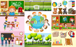 School scenes with students in different classrooms. Illustration Stock Image