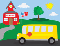 School and School Bus Stock Photo
