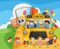 School School Bus And Kids Stock Photo
