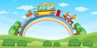 School and school bus on the rainbow stock illustration