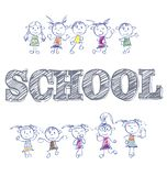 School. School illustration for design with an inscription. And funny children Royalty Free Illustration
