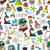 School or science items vector seamless pattern Stock Photos