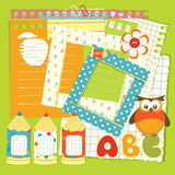 School scrapbook set Stock Photos