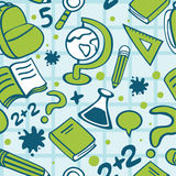 School seamless pattern. With differrent objects stock illustration