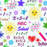 School seamless pattern. Vector illustration of school seamless pattern with different elements stock illustration