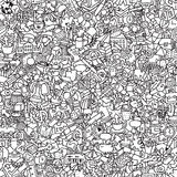School seamless pattern in black and white stock image