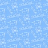 School seamless pattern on a blue background Royalty Free Stock Photo
