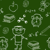School seamless pattern on a chalkboard Stock Photos