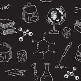 School seamless pattern on a chalkboard Stock Image
