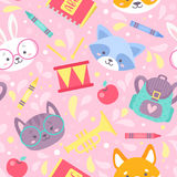 School seamless pattern for children Stock Image