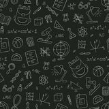 School seamless pattern in doodle and cartoon style. Chalkboard. Vector. EPS 10 Stock Image
