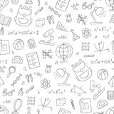 School seamless pattern in doodle and cartoon style. Linear. Black and white. Vector. EPS 10 Royalty Free Stock Image