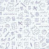 School seamless pattern in doodle and cartoon style. Notebook in a cage. Vector. EPS 10 Royalty Free Stock Photos