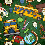 School seamless pattern with education elements Royalty Free Stock Photo