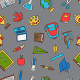 School seamless pattern with education hand drawn Stock Photos