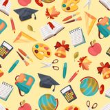 School seamless pattern with education icons and Royalty Free Stock Images