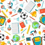 School seamless pattern with education items. Colorful supplies and stationery background Royalty Free Stock Images