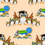 School seamless pattern with funny owls Stock Images
