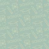 School seamless pattern on a green background Royalty Free Stock Photo